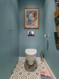 photos et idees deco de wc et toilettes carreaux ciment With quelle couleur pour les toilettes 5 carrelage toilette murale