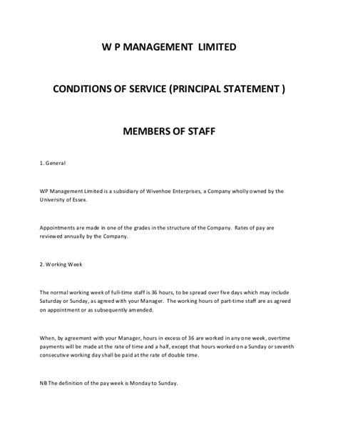 Employment contract (w p management limited)