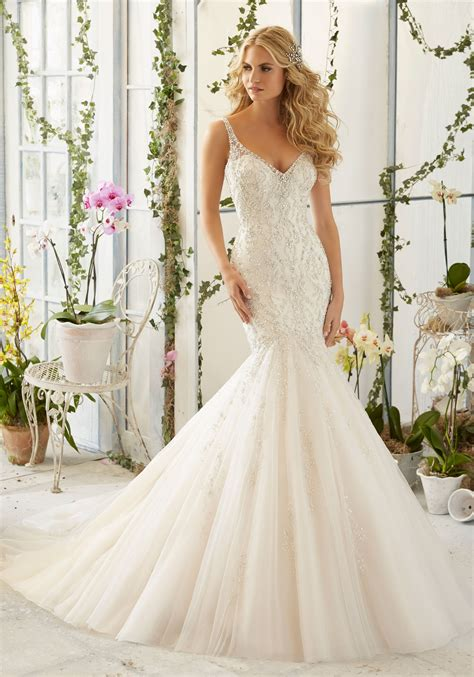 morilee wedding dress intricate beaded embroidery on tulle mermaid