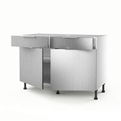 meuble cuisine en aluminium meuble de cuisine bas décor aluminium 2 portes 2 tiroirs