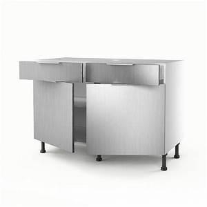 meuble de cuisine bas decor aluminium 2 portes2 tiroirs With porte d entrée alu avec meuble salle de bain avec plan de travail