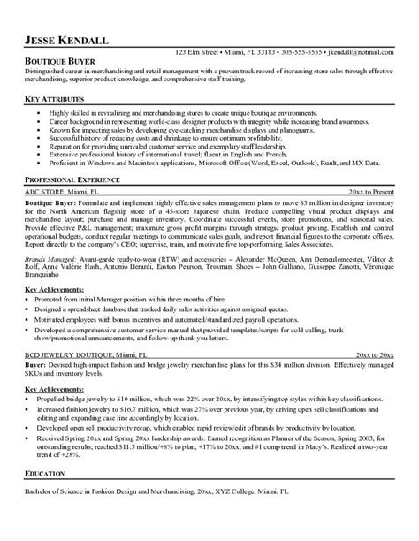 Best Retail Buyer Resumes by Free Boutique Buyer Resume Exle