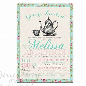 Shabby Chic Typography Mint Bridal Shower Invitation ...