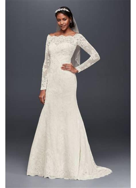 shoulder scalloped lace mermaid dress davids bridal