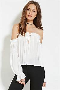 Forever 21 Off-the-shoulder Chiffon Top in White | Lyst
