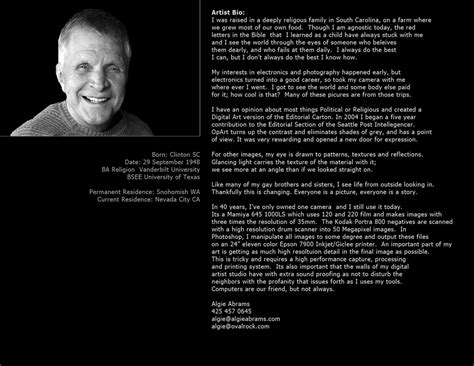 Free Artists Biography Template Westbackup