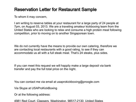 letter  making reservation