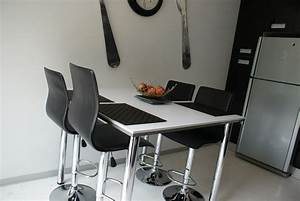 Table De Travail Cuisine : cuisine moderne photo 3 3 table assortie aux plans de ~ Nature-et-papiers.com Idées de Décoration