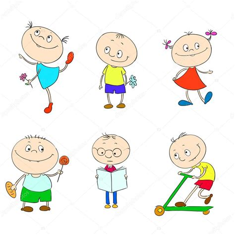 Spielendes Comic by Reihe Comic Figuren F 252 R Kinder Stockvektor 169 Hibou