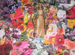 Mother Mary ~ Flower Collage Art Craft Catholic Inspired