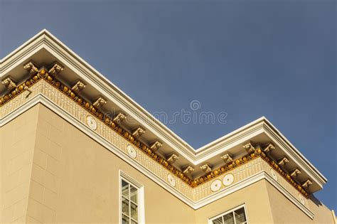 Roof Cornice - upscale house roof and cornice detail stock photo image