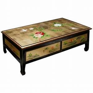 Table Basse Dorée : table basse chinoise 2 tiroirs laque dor e magasin du meuble asiatique et chinois ~ Teatrodelosmanantiales.com Idées de Décoration