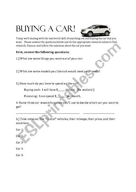 buying a car worksheet high school esl worksheet by