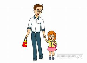 Family Clipart- father-walking-his-daugther-to-school ...