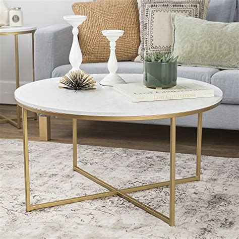 """Sauder international round coffee table. WE Furniture 36"""" Short Round Coffee Table For Living Room with X Base Faux Marble Top Gold Base ..."""