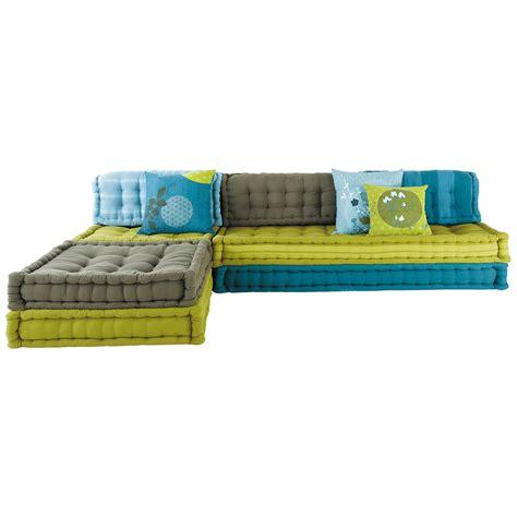canape designer banquette d 39 angle modulable 6 places en coton bleue et