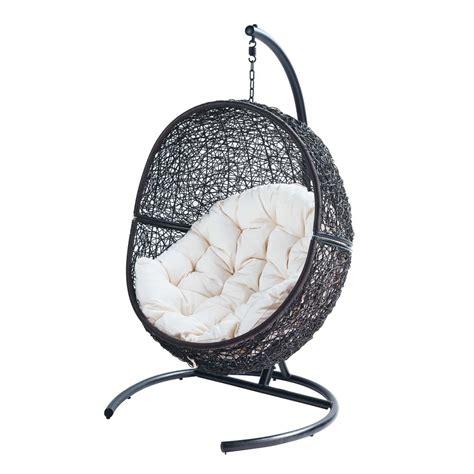 siege boule suspendu fauteuil de jardin sur pied en résine marron cocon