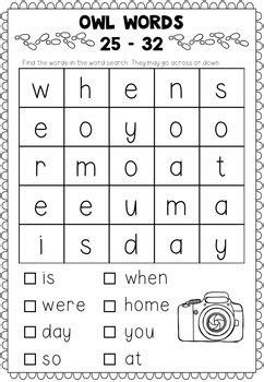 oxford sight words word searches  images english