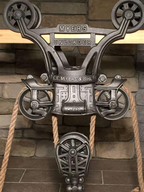 antique hay trolley cast iron farm tool hay pulley barn