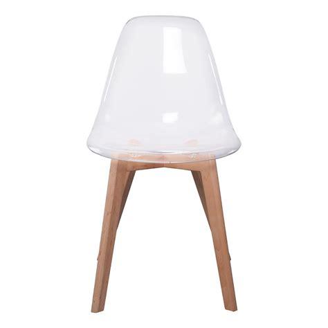 table et chaise transparente lot de 2 chaises design scandinaves pas cher pieds bois