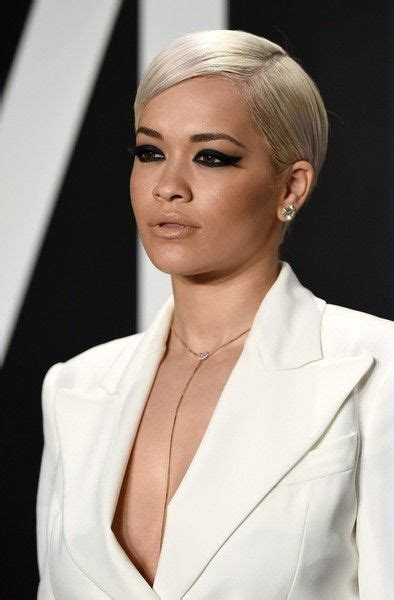 Rita Ora Side Parted Straight Cut Celebrities Style