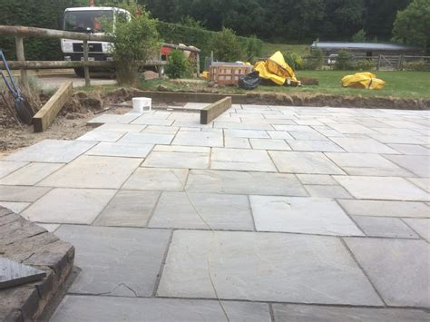 new indian sandstone patio and fencing in pendock