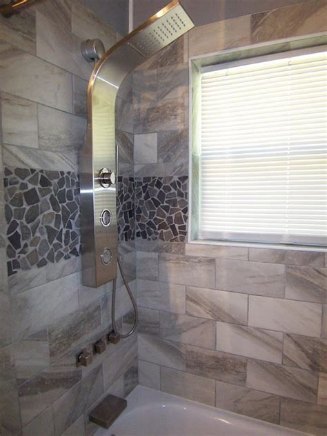 grey mosaic tile shower wall accent subway tile outlet