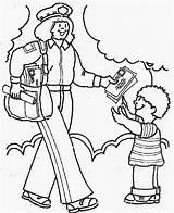 Coloring Pages Community Helpers Helper Postman Workers Printable Mail Students Fun Lady Preschool sketch template