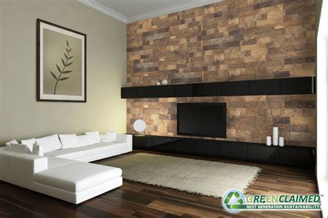 Modern Living Room with Natural Brown Grey Cork Tile Wall