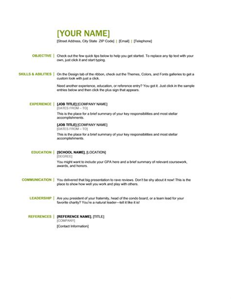 Basic Resume Exles For Skills by Microsoft Office 365 Sle Resume Templates Basic Resume Green And Black Word