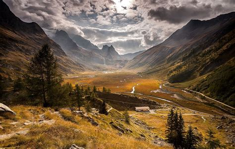 nature landscape mountains valley clouds sunlight