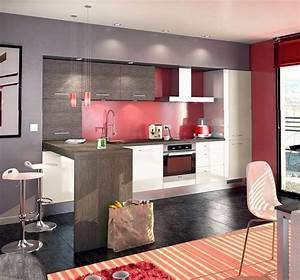 23 best cuisine rouge images on pinterest red kitchen With cuisine gris et rouge