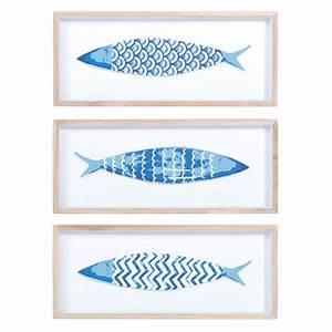 3 tableaux poissons en bois bleu 14 x 33 cm azzura With triptyque maison du monde