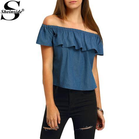 crop top blouse aliexpress com buy sheinside crop tops ruffle denim