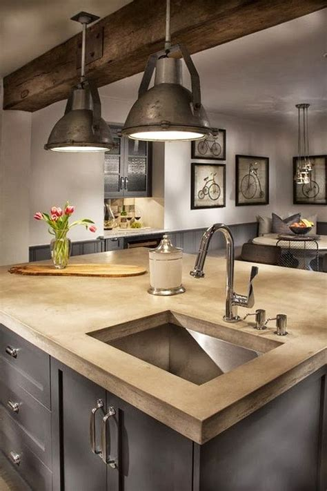 industrial farmhouse kitchen     modern island   rustic beam  recycled