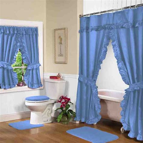 Matching Shower Curtain And Towels by Blue Lauren Double Swag Shower Curtain