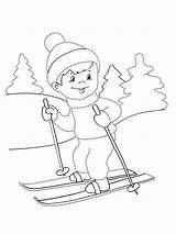 Ski Ausmalbilder зима Kinder Coloring Schnee Malvorlagen Zum Skiing sketch template