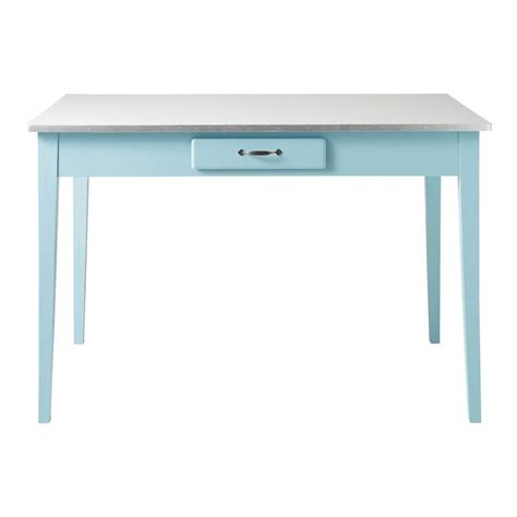 Wooden Tabletop Kitchen by Wooden Dining Table In Blue W 120cm Kitchen Maisons Du Monde