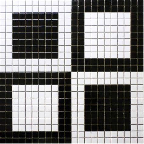 simple bathroom design black and white floor mosaic tiles