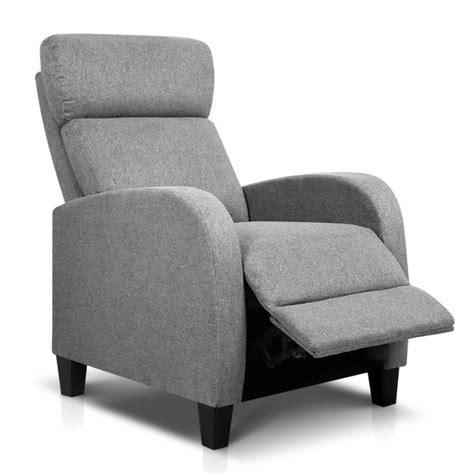 Reclining Armchair Fabric by Artiss Fabric Reclining Armchair Grey Buy Recliner