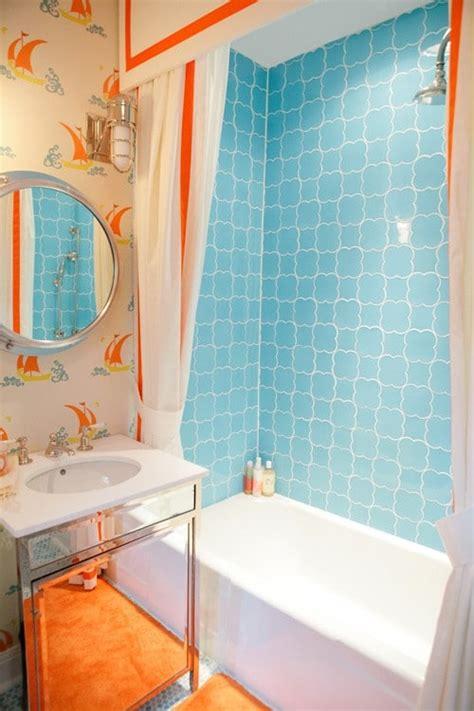 Salle De Bain Orange Et Bleu