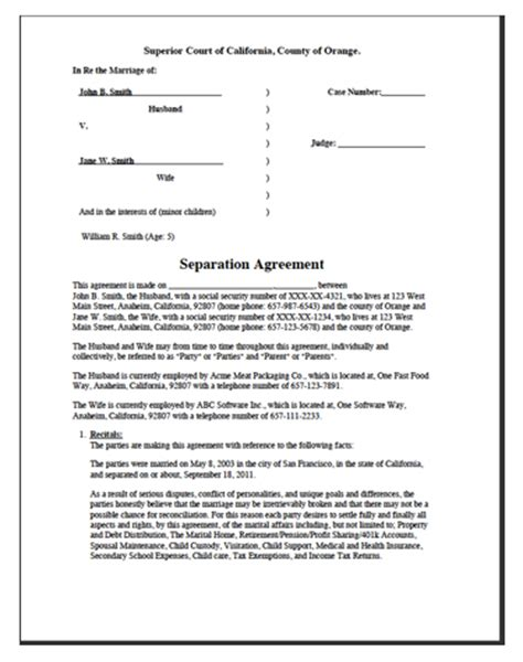 separation decree form divorce worksheet separation agreement divorce source
