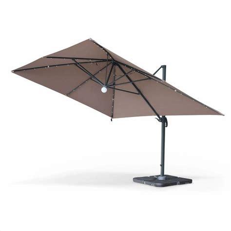 parasol d 233 port 233 solaire led 3x4m luce taupe haut de gamme