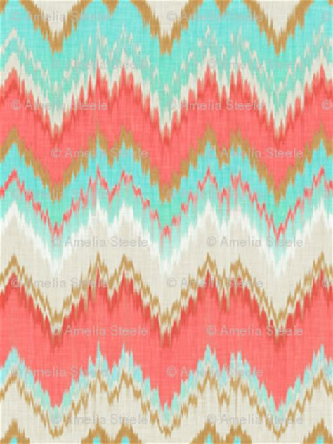 ikat chevron  mint gold  coral pink wallpaper