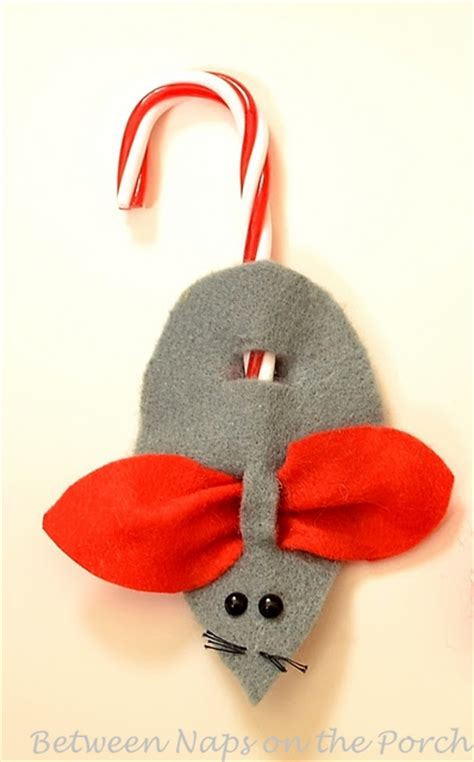 make a christmas mouse candycane ornament or present topper