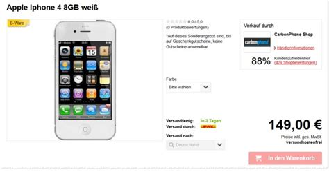 iphone 5s preis ohne vertrag iphone 4 16 gb b ware ohne vertrag 109 95