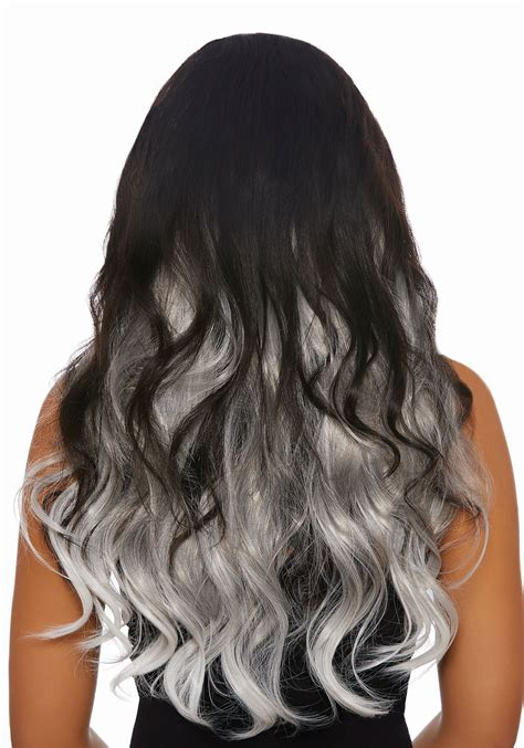 3 Piece Long Straight Ombre Greywhite Hair Extensions