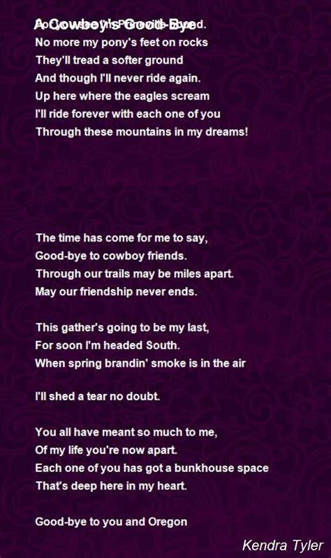 cowboys good bye poem  kendra tyler poem hunter