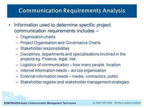 Communication Requirements Analysis Template apply communication management techniques project