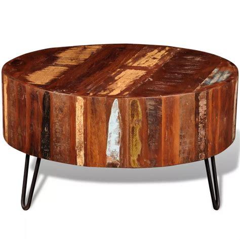 Reclaimed Solid Wood Round Coffee Table Vidaxl Com